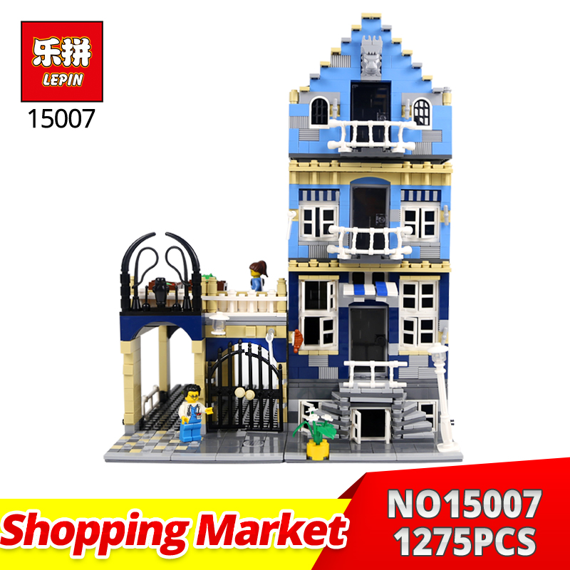 LEPIN Building Bricks 15007 1275Pcs European shopping market street Model Building Kits Blocks DIY Toy Gift Compatible 10190  trendyangel 15007