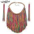 Ladyfirst Fashion Jewelry Long Tassel Statement Necklace For Women 2016 New Boho Hot Sale Collar Choker Handmade Resin 3775