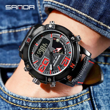 Sanda NEW Mens Watch Clock Wrist Watches Top Brand Luxury Luminous calendar double dial multi-function