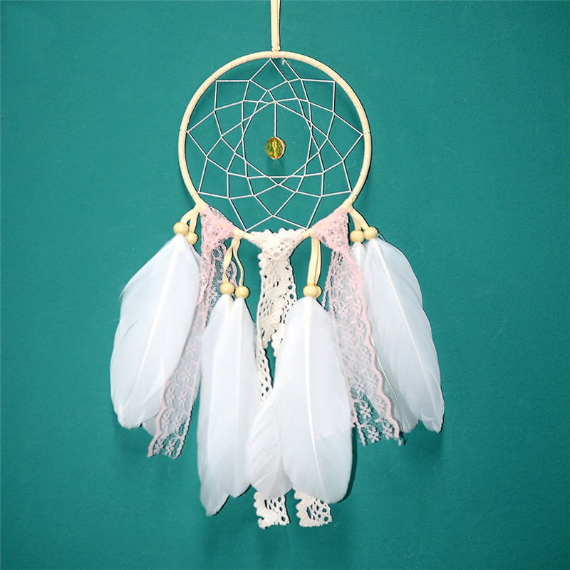White Pink Nordic Dream Catcher Present For Ladies Women Dreamcatcher Nurser Decor Ornament For House Youngsters Room Ornament