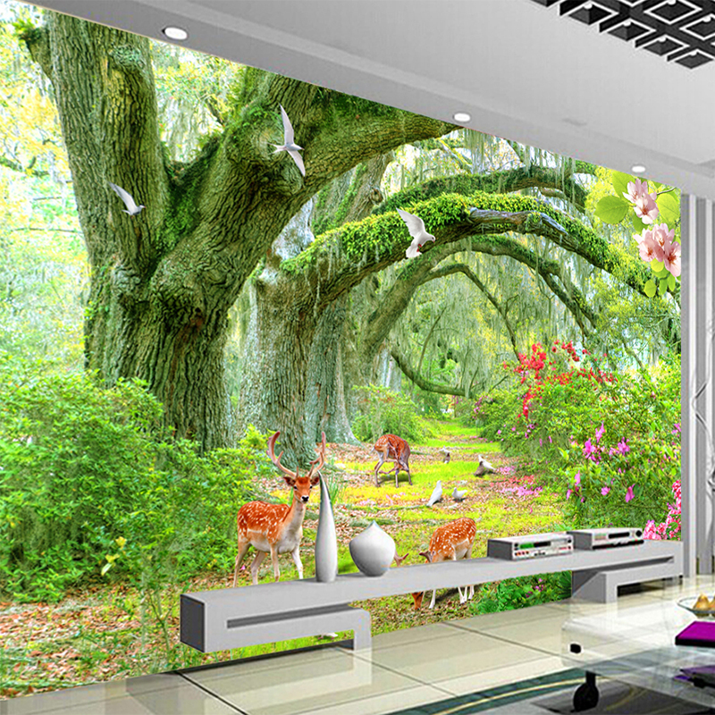Custom Any Size Murals Wallpaper 3D Green Forest Tree Animal Wall Cloth Living Room TV Sofa Background Wall Painting Home Decor