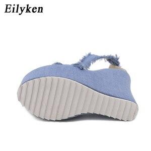 Image 5 - Eilyken 2020 New Designer Denim Sandals Summer Roman Sandals High Quality Wedges High Heels Peep Toe Platform Shoes Woman