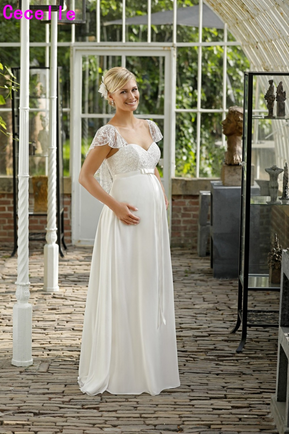 Weddings & Events Empire Waist Maternity Wedding Dresses 2019 Elegant Beaded Crystals Chiffon Informal Reception Wedding Gowns For Pregnant Women Spare No Cost At Any Cost