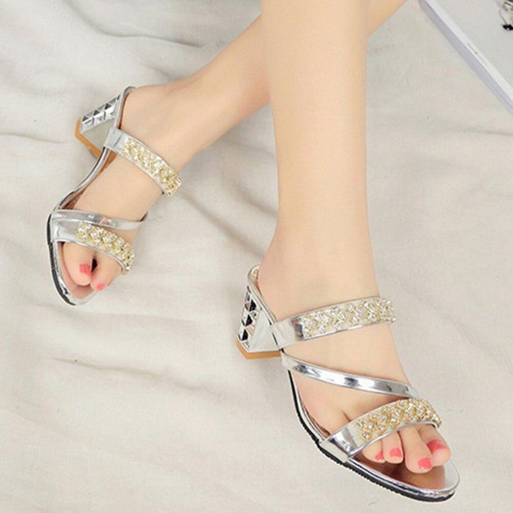 Trendy Korean Style Women Summer Sandals Peep Toes Chunky Heels Women Shoes Elegant Rhinestone Decoration Female Sandals trendy women s sandals with colorful rhinestone and chunky heel design