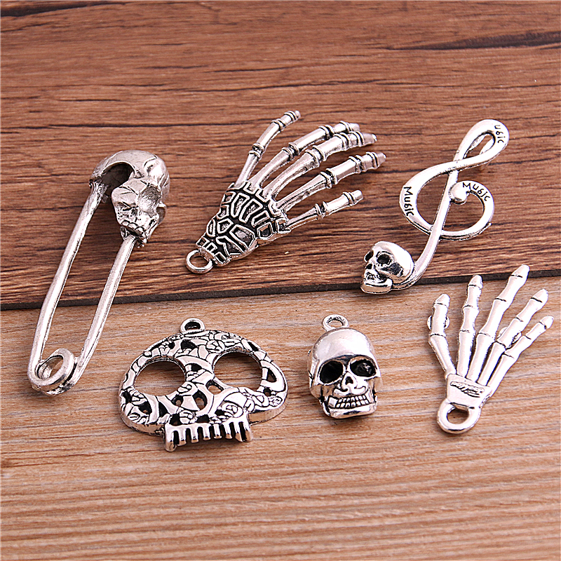 6pcs Skeleton Charm Tibet silver Charms Pendants DIY Jewellery Making crafts