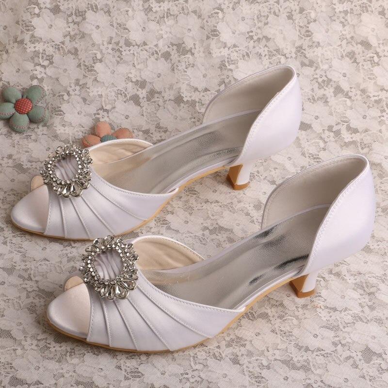 Aliexpress Buy Wedopus Med Heel White Peep Toe Ladies Formal Dress Wedding Bridal Shoes