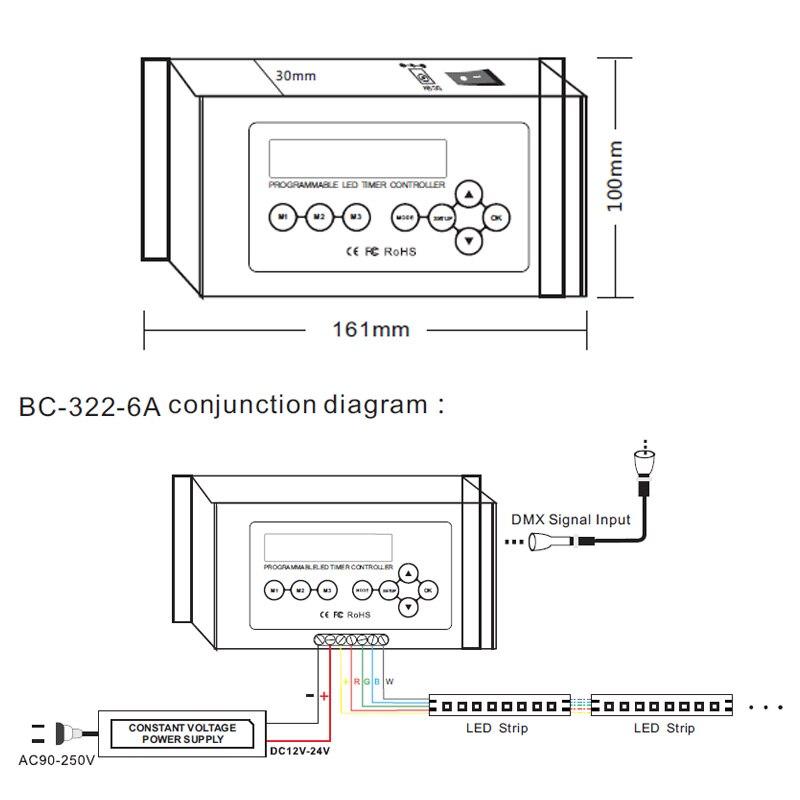 Bincolor Timer dimmer controller DC12V 36V aquarium controller plant light controller BC 322 6A - 4