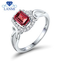 Red Tourmaline Diamond Engagement Ring In Solid 18kt White Gold Weding Rings WU34TOU