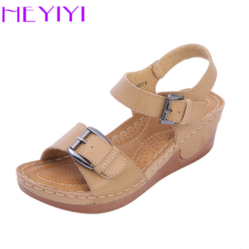 Wedge Casual Sandals Women Shoes Casual Platform Buckle Strap Flat Shoes Comfortable Rome Style Lightweight Mama Shoes HEYIYI