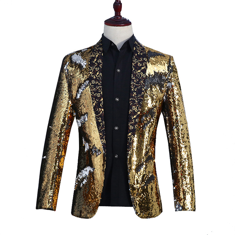 Image 5 - New Mens Clothing Casual Coat Hip hop Blazer Men Slim Fit Dress  Joggers Blazers Suits Streetwear Stage Costumes For Singers  MensBlazers
