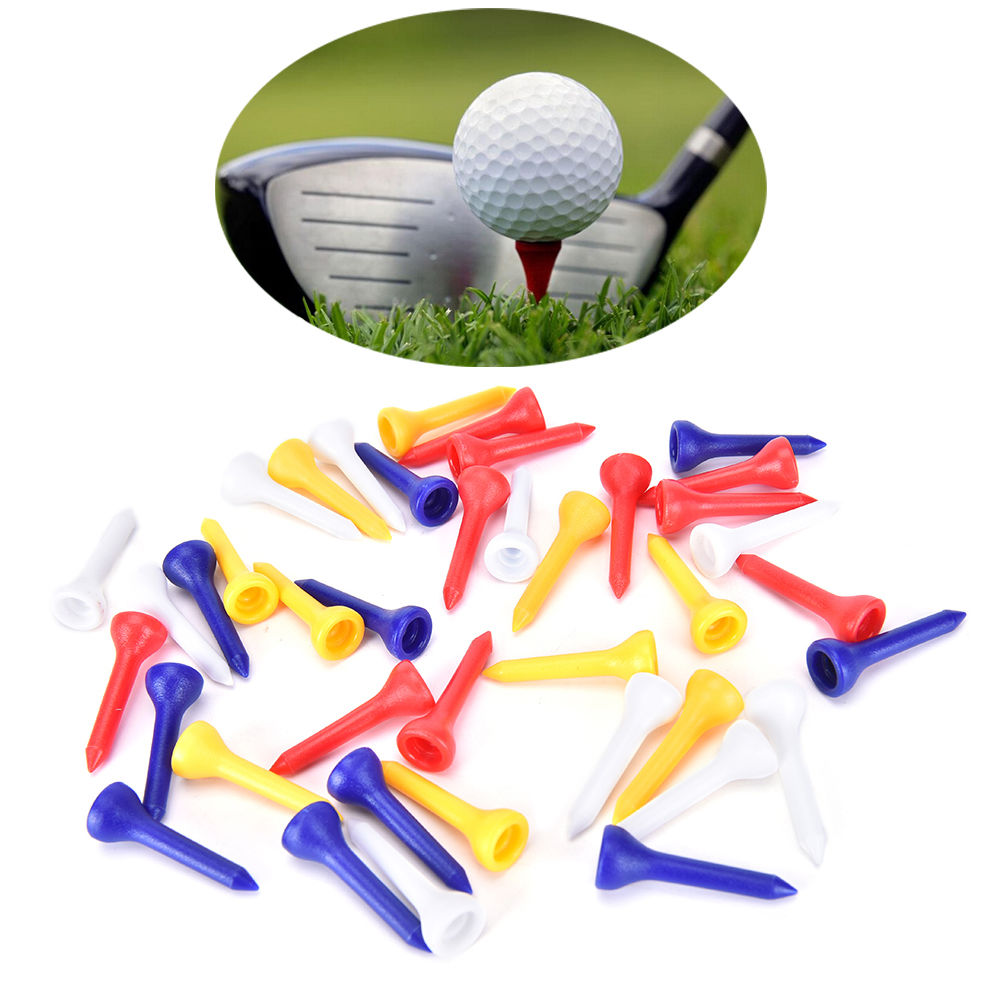 100PCS=1Pack 36mm Professional Plastic Ball Golf Tee Outdoor Sports Tees Random Color Wholesale