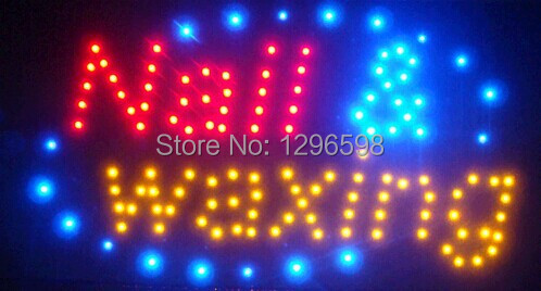 2017 Hot Sale custom 10X19 Inch indoor Ultra Bright running nail waxing store led sign