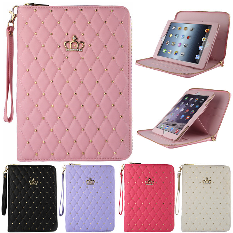 Luxury PU Leather Crown Zipper Stand Pouch Bag For Apple iPad Mini Fashion Diamond Bling Cover With Strap For iPad Mini 2 Mini 3 foldable pu leather pad cover with flower girl driving style inlaid diamond support stand for ipad mini 3