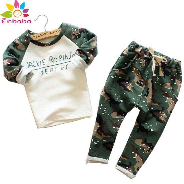 спортивный костюм Мальчики одежда для мальчиков комплект 2016 мода дети устанавливают детская осень спорт печать с длинным рукавом + камуфляжные штаны костюмы девушки одежду детская одежда
