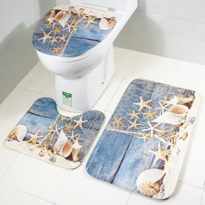 3pcs per Washable Set Bath Mats and with Toilet Lid Cover Absorbs Water Easily Made with Velvet Fabric