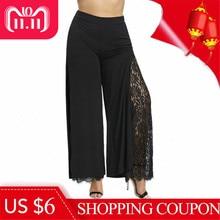 b118d5bcd68 Plus Size Women Summer Wide Leg Pants Casual Loose High Slit Lace Palazzo  Pants Women Trousers Straight Long Big Size 2018