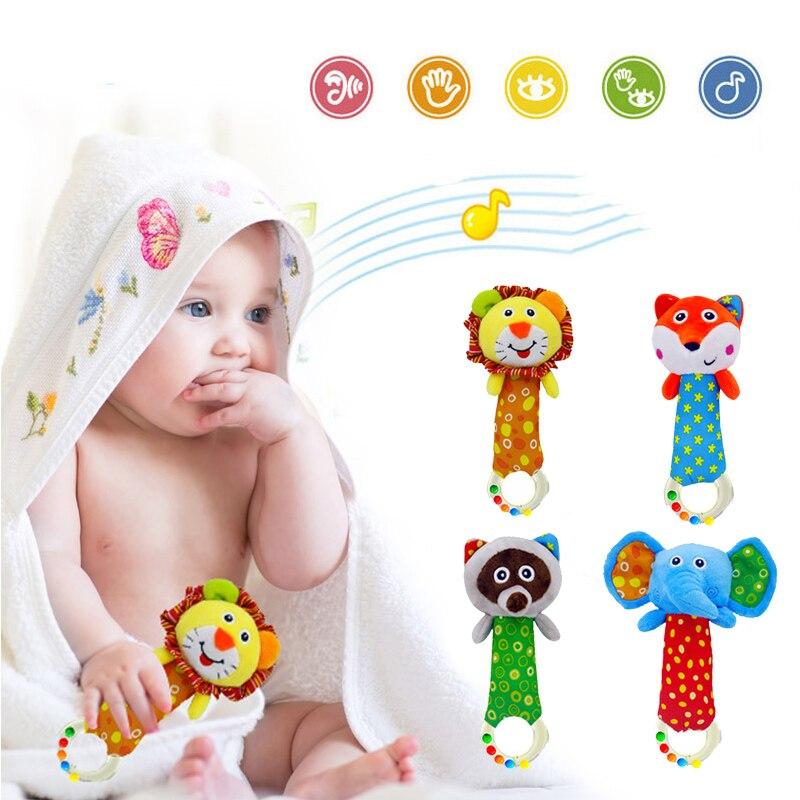 Adaptable Baby Rammelaar Speelgoed 0-12 Maanden Pasgeboren Zachte Pluche Dieren Hand Bell Baby Speelgoed Peuter Zuigeling Mobiele Muzikale Bed Speelgoed Jade Wit