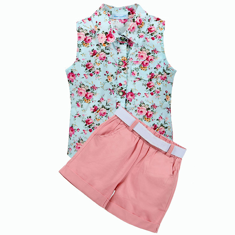 цена Kids Clothes 2018 Summer Style Baby Girls Sleeveless Shirt +Shorts + Belt 3pcs Suit Children Clothing Sets Fashion Baby Clothes