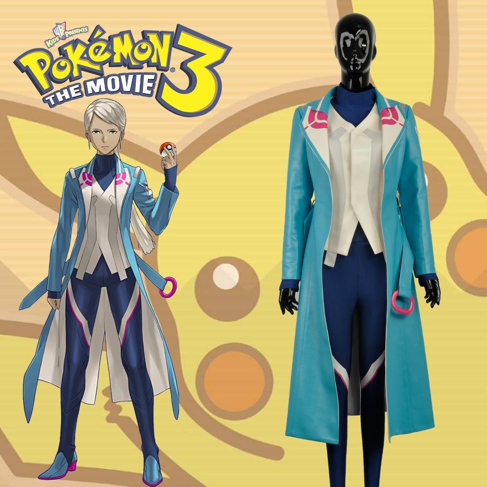 Tour de main Pokemon Go équipe mystique Blanche Cosplay bleu PU mode Costume Top veste chemise pantalon Halloween noël pour adulte