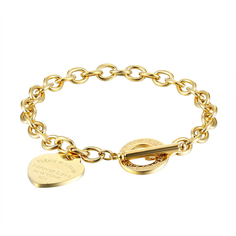Classic 2 Size Carve Forever Love Heart Bracelet For Women Titanium Steel Gold Color Woman Bracelet Jewelry Pulseras Lover Gift