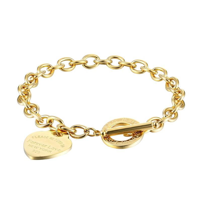 Classic 2 Size Carve Forever Love Heart Bracelet For Women Titanium Steel Gold Color Woman Bracelet Jewelry Pulseras Lover Gift