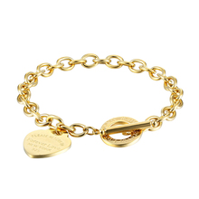 Classic 2 Size Carve Forever Love Heart Bracelet For Women T