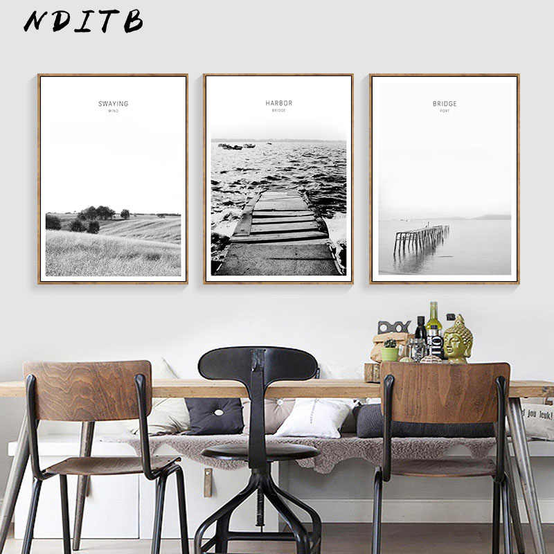 Scandinavian Landscape Canvas Wall Art Poster Nordic Style Sea Beach Bridge Minimalist Print Painting Nature Decoration Pictures
