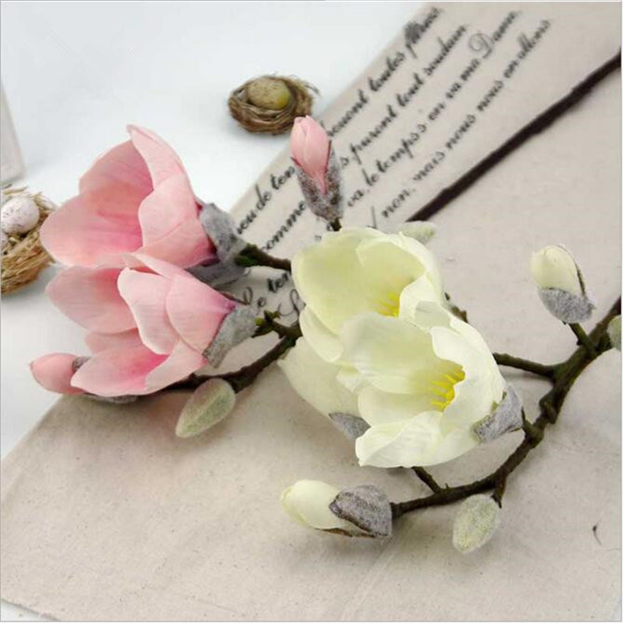 YO CHO Wedding Decoration 2 Heads Artificial Orchid Vivid Real Touch  Magnolia Flower Silk Flower DIY