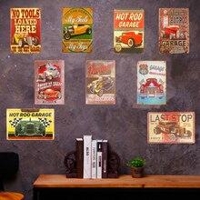 Cartel artístico Retro Vintage de placa de Metal para Motor de coche de garaje Ruta 66 motocicleta con llamativo hombre cueva decoración de pared del hogar