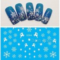 White Snowflake Water Decals Snowman Transfer Stickers Xmas Nail Art  1Sheet  # 22964