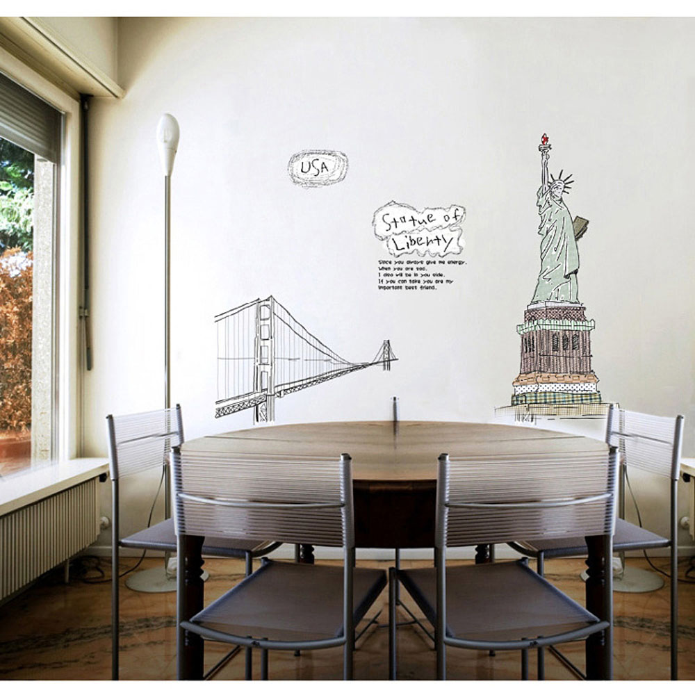 DIY wall decals free Golden Gate Bridge Western home decor / Pegatinas removable wall art stickers wallpaper statue