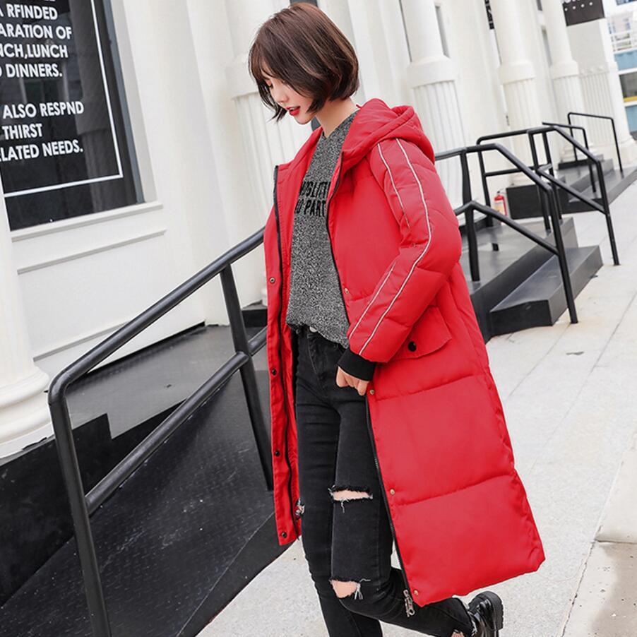 Manteau Parkas R315 Outwear Slim Épaissir Bas Red Rembourré Coréenne brick Long Red À Chaud 2018 Vers Coton Femmes D'hiver black Veste Le beige Capuchon p4xEqTwf