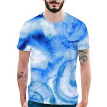 f6da3dc9cb43 CalvesKelson Summer 3D Watercolor Short Sleeve O-Neck Printed T Shirt Slim  Men