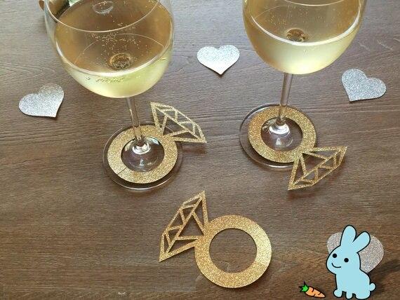 glitter custom Wine Charms Wine Tags Name Tags Diamond Rings Glass Markers Wedding  Bridal Engagement Shower d82eeba9421c