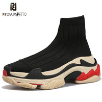 Prova Perfetto New Fashion High Top Sneakers Women Slip on Platform Creepers Female Casual Flat Ladies Shoes Stretch Sock Boots