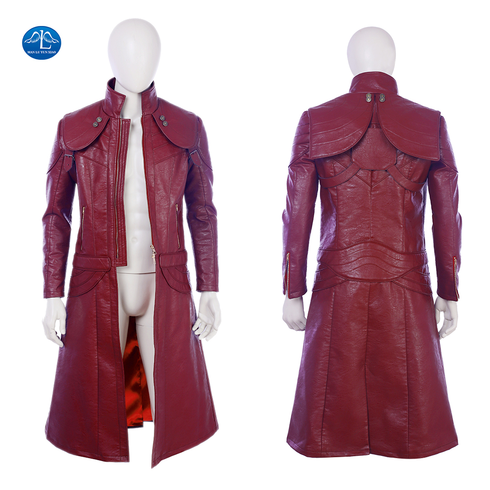Devil May Cry 5 Dante Cosplay Costume Men Leather Jacket Halloween Dante Jacket Custom Made