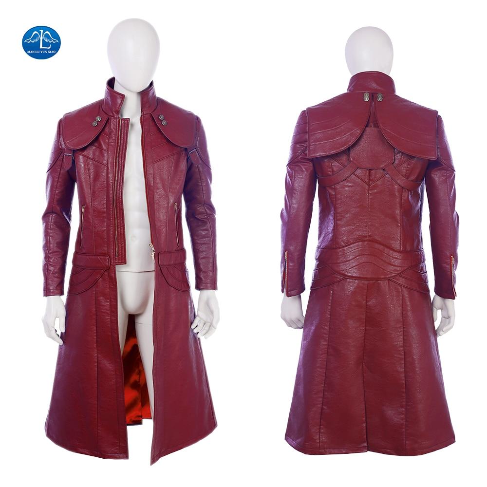 Devil May Cry 5 Dante Cosplay Costume Men Leather Jacket Halloween Dante Jacket Custom Made