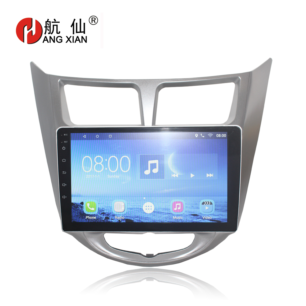 HANGXIAN 9'' 2 din Android 7.0 Car Dvd Player For Hyundai Solaris Verna 2011-2015 Radio tape recorder Video Gps WIFI usb audio