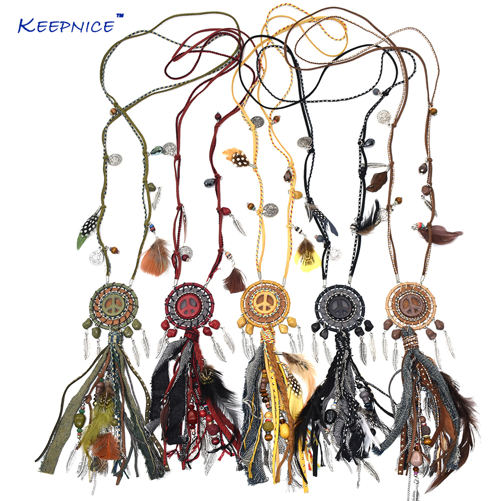 Handmade Bohemian Military green Dream catcher charm necklace feather Pendant necklace Boho statement tassel pendant Necklace new brand colors purse plaid leather zipper wallet cards holder wallet for girls women wallet
