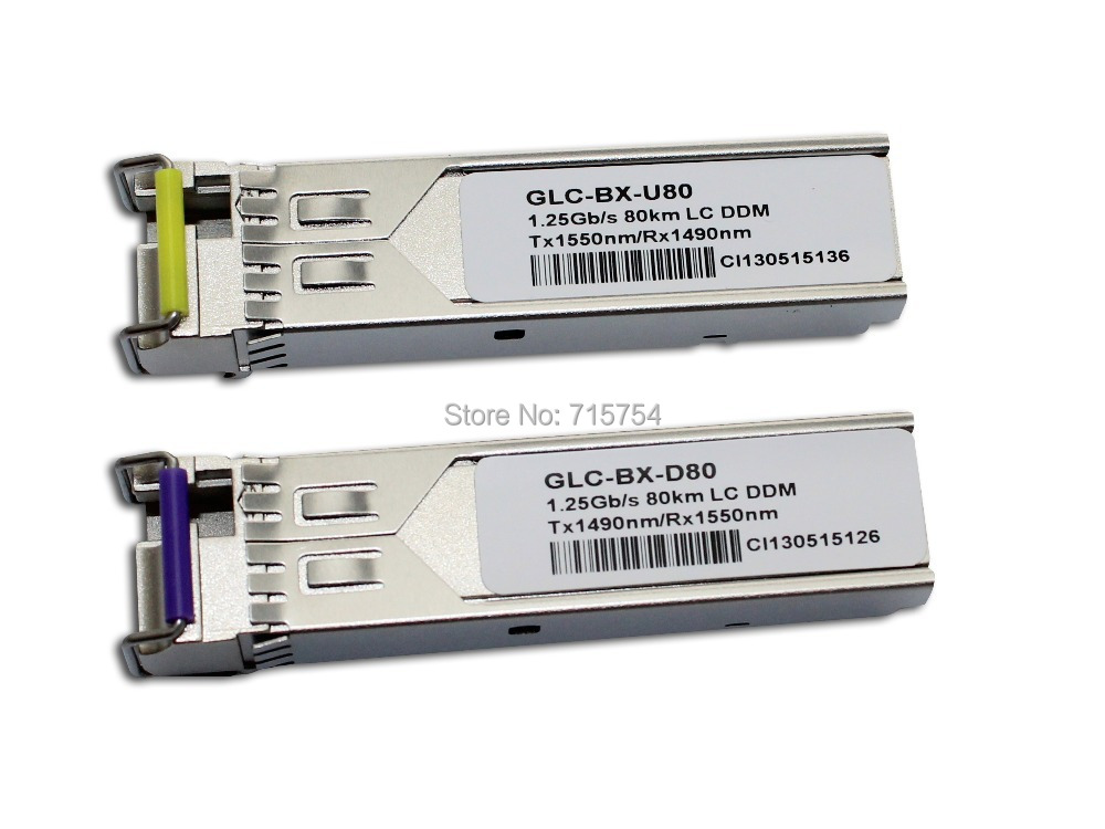 GLC-BX-D80 + GLC-BX-U80-1000BASE-BX SFP SMF 1490nm/1550nm 80 km (Cisco 100% compatibile)