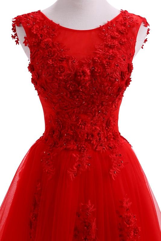 Robe De Soirée Rouge Robes De Soirée Longues Plus La Taille Tulle - Habillez-vous pour des occasions spéciales - Photo 5