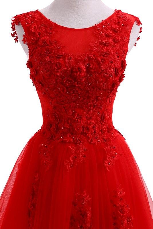 Robe De soirée rouge robes De soirée longue grande taille Tulle bal dentelle Robe perlée robes De Festa Elie Saab Abendkleider 2019 - 5