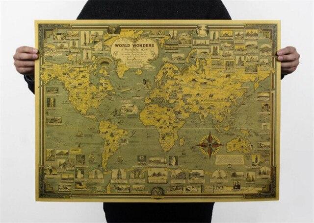 Maravilhas Do Mundo Criativo Vintage Mapa Poster Cafe Bar Pintura Decorao De Casa Retro Papel