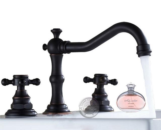Retro Bathroom double handle faucet.Oil Rubbed Bronze faucet. Basin ...
