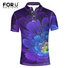 efc96ea527 Forudesigns elegante 3D flor única impresión Polo verano elástico Polo S para  hombre marca diseñador Niños superior Camisetas .