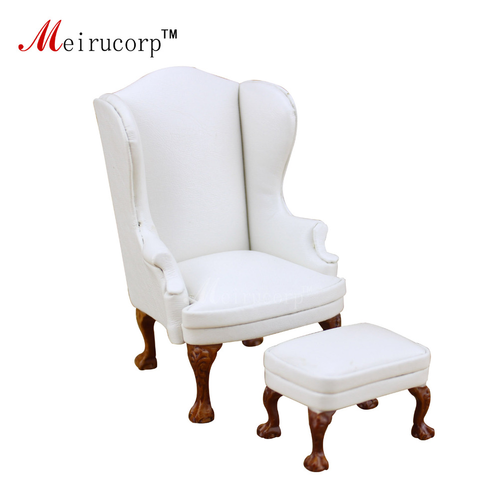Dollhouse 1/12 Scale Miniature Furniture White High Quality Chair And Ottoma