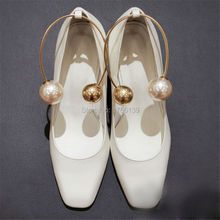Fashion Square Toe Gladiator Women Pumps Sexy Pearl Clasp Ladies High Heels Wedding Dress Shoes Woman Valentine Shoe White Color