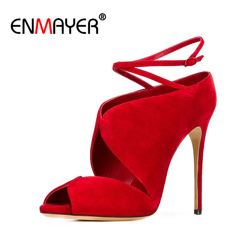 ENMAYER Buckle Strap Shoes Woman Sexy Red High Heels Peep Toe Summer Pumps Two-Piece Plus Size 34-45 Shallow Party PumpsSandals enmayer new women high heels summer buckle strap sandals shoes woman 4 colors white shoes platform peep toe sandals pumps shoes