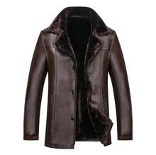 Hot Sale 2017 Men's Fashion Genuine Leather Jacket Men Leather Casual Outerwear lapel Length kackets Man Slim Warm Fur Coats