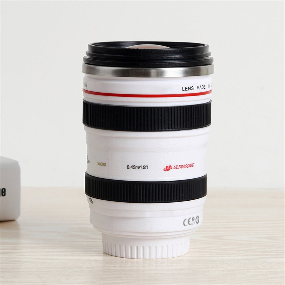 2017 Fashion 1Pcs Durable DIY Stainless Steel Vacuum Flasks Travel Coffee Mug Cup Water Coffee Tea Camera Lens Cup With Lid Gift